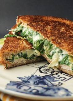 Love this fresh take on grilled cheese: Spinach and Artichoke Grilled Cheese by Slender Kitchen! Perfect for breakfast or lunch.