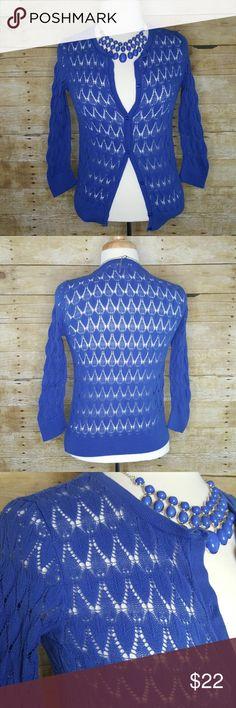 Ann Taylor Loft Cobalt Blue Cardigan Size Small Ann Taylor Loft Cobalt Blue Cardigan Size Small. 3/4 Sleeve 100% Cotton LOFT Sweaters Cardigans