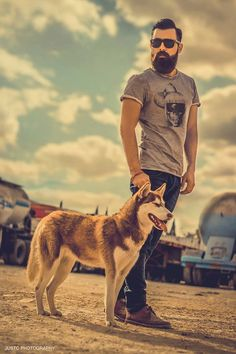 beautiful photo - full thick black beard and mustache beards bearded man so handsome men mens' style husky dog #mansbestfriend #ridiculouslygoodlooking #beardsforever