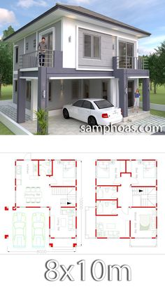 4 Bedrooms Home Design Plan This villa is modeling by SAM-ARCHITECT With Two stories level. It's has 4 bedrooms.Simple Home Design 4 Bedroom House Plans, Duplex House Plans, Dream House Plans, Simple House Plans, Simple House Design, Modern House Design, Home Modern, House Design Plans, Interior Modern