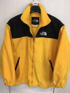 MENS 2XL XXL THE NORTH FACE OUTDOOR JACKET BLACK YELLOW FLEECE #TheNorthFace #CoatsJackets