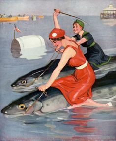 vintagraphblog:  At the fish races the beautiful young women always win.New in Vintage Illustrations.(via Both Winners | Vintagraph)