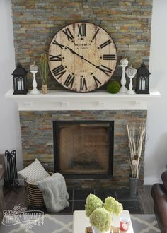 Rustic Vintage Industrial Fall Mantel with a clock.