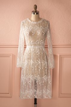 9d7cff60125 Thema Douceur - White lace see-through long sleeved dress My Spring