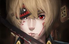 man the sword the blood drops dressing red eyes cartoon art Canvas Wall Poster