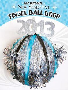 DIY New Years Ball Drop : DIY New Years Eve Tinsel Ball Drop
