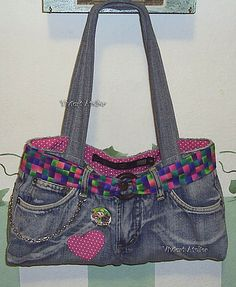 Bolsa jeans, Recycle, upcycle, denim, patch, patchwork, #DIY, crafting idea, bag, purse