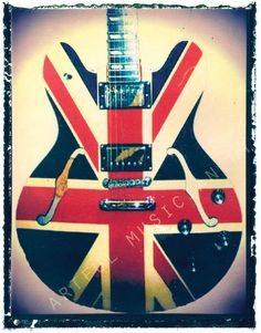 union jack guitar art print 5 x 7  polaroid by @artfulNY, $10.00