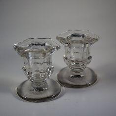 Clear Depression Glass Candlestick Holders by KitschyKitschyYAYAYE