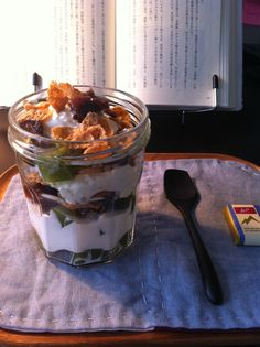 Corn flakes Japanese parfait Green tea jelly, corn flakes, red bean and whip cream