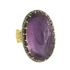 Art Nouveau Egyptian Revival Diamond Amethyst Cameo Pharaoh Ring | From a unique collection of vintage fashion rings at https://www.1stdibs.com/jewelry/rings/fashion-rings/