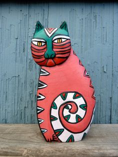 Laurel Burch style cat figurine wood carving gift by OatesGeneral