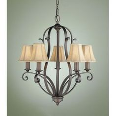 Feiss Lighting F1839/5CB Corinthian Bronze Chandelier from the Tuscan Villa CollectionClick here to view larger image