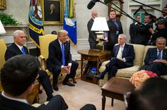 To Allies Chagrin Trump Swerves Left GLENN THRUSH and MAGGIE HABERMAN Republican congressional leaders went into an Oval Office meeting on spending plans expecting a photo-op and walked away shellshocked.