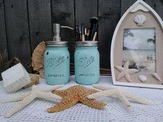 Set of Two Mason Jars In Beach Style, Cottage or Farmhouse Look #BallMasonJar