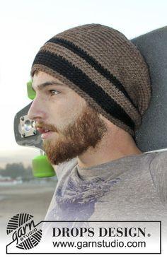 """Free pattern: Crochet DROPS men's hat in """"Nepal"""". #DROPSDesign #AlpacaParty"""