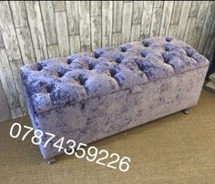 LARGE Crush Velvet Chesterfield ottoman storage box wid feet*free Delivery & Large Crush Velvet Diamante Chesterfield Cushions or Covers 3 Sizes ...