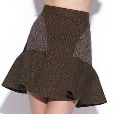 Patti short brown tweed skirt - love.
