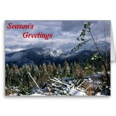 Season's greetings cards snow covered mountains scenic