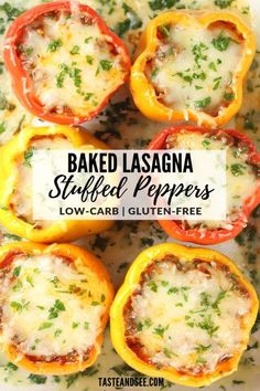 Baked Lasagna Stuffed Peppers – A delicious and easy way to make low-carb, gluten-free lasagna the whole family will love! Beef Recipes, Low Carb Recipes, Cooking Recipes, Healthy Recipes, Slow Cooking, Soup Recipes, Recipies, Dinner Recipes, Cooking Corn