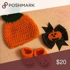 Halloween Hat & Matching Booties Handmade crochet pumpkin hat size 0- 3 months BNWOT never worn my daughter was premi and it was too big for her. Booties are carters size Newborn and adorable with jack o lantern faces worn for not even two hours on Halloween. Bow came off the headband that was also too big I planned to put it onto a new one but never got around to it so it was never worn. Will sell individually just ask, I also have a matching outfit in my closet bundle & save. 🎃 Carter's…