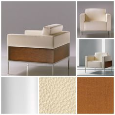 A harmonious blending of materials is the distinguishing characteristic of the Alia Metal Lounge. An angled view reveals the unity of its elements: plush upholstered seat, back, and arms; appealing panels in maple or a choice of exotic woods; and understated yet solid stainless steel base.