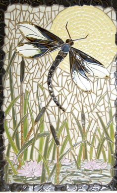 mosaic, dragonfly, pond - lovely very serene Stained Glass Patterns, Mosaic Patterns, Stained Glass Art, Stained Glass Windows, Mosaic Wall, Mosaic Glass, Mosaic Tiles, Pebble Mosaic, Mosaic Crafts