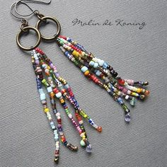 Earrings Everyday: Seed Bead Tassels - is-sit tiegħi Awesome Seed Bead Tassels - The Fashion United Exquisite Beaded Jewelry: Use Basic Techniques Arts And Crafts Festivals Near Me Position yourself as a jewelry making professional by knowing the names o Beaded Earrings Patterns, Beaded Tassel Earrings, Jewelry Patterns, Beaded Jewelry, Beaded Bracelets, Diy Seed Bead Earrings, Seed Beads, Hoop Earrings, Beading Patterns