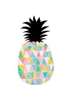 Pineapple Art Print Fruit Illustration Kitchen Art by dekanimal