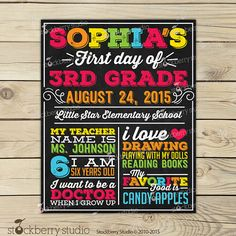 First Day of School Chalkboard Sign Printable by stockberrystudio