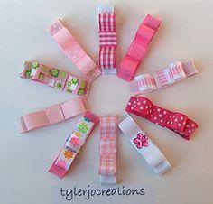 Set of Ten Pink Clippies Baby Hair Clips, Baby Hair Bows, Ribbon Hair Bows, Diy Ribbon, Felt Hair Accessories, Hair Bow Tutorial, Diy Bow, Diy Headband, Boutique Bows