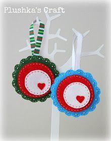 "Plushka's craft: ""Folk flower"" Christmas ornament DIY"