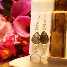 The Perfect Pair!  Labradorite & gold earrings by Irka Design Available on Etsy!  Www.etsy.com/shop/ IrkaDesign
