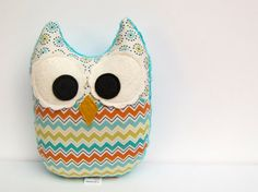 Chevron Owl Plush Toy Mini Pillow Softie Minky by LittleSidekick, $14.00