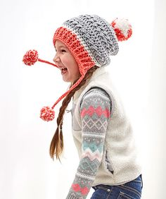 Crochet a hat that is as warm and comfy as it is fun to wear! We used three shades of Baby Hugs yarn to give you confidence that you are using the best tested yarn for your child. Pattern is written for child and teen-adult sizes.