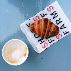 #FarmshopLA A simple breakfast - hot coffee and #Farmshop Butter Croissant. Available at our bakery in the #BrentwoodCountryMart. / Photo credit: @rachelsunae