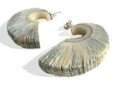 Creolen - Ohrschmuck / Creolen aus Buchfragmenten - ein Designerstück von Christine Rozina bei DaWanda -  79€