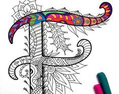 8.5 x 11» page à colorier PDF de la lettre majuscule «A» - inspiré par la police d'écriture «Harrington»  Plaisir pour tous les âges.  Soulager le stress, ou tout simplement se détendre et s'amuser à l'aide de vos crayons de couleurs préférées, stylos, aquarelles, peinture, pastels ou crayons de couleur.  Impression sur du papier cartonné ou autre papier épais (recommandé).  Art original par Devyn Brewer (DJPenscript).  Pour un usage personnel seulement. S'il vous plaît ne pas…