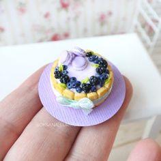 Cake for dolls of polymer clay. Miniature dollhouse food.   Etsy Polymer Clay Miniatures, Dollhouse Miniatures, Macaroons, Cake Sizes, Tiramisu Cake, Piece Of Cakes, Miniature Food, Amazing Cakes, Blueberry