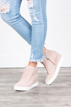 Known By All Blush Pink Wedge Sneakers - Known By All Blush .- Known By All Blush Pink Wedge Sneakers – Known By All Blush Pink Wedge Sneakers Known By All Wedge Sneakers, Blush - Sneaker Outfits, Sneakers Mode, Nike Sneakers, Womens Wedge Sneakers, Wedge Heel Sneakers, Wedge Sneakers Fashion, Nike Sneaker Wedges, Girls Sneakers, Converse Wedges