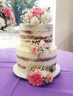 5 Naked Cakes For Mouthwatering - 60th Birthday Cakes, Birthday Cakes For Women, Pretty Cakes, Cute Cakes, Beautiful Wedding Cakes, Beautiful Cakes, Bolo Neked Cake, Water Cake Recipe, Bolo Nacked
