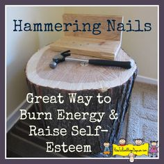 Hammering Nails -Great Way to Burn Energy & Raise Self-Esteem - How To Run A Home Daycare Waldorf Preschool, Waldorf Kindergarten, Kindergarten Classroom, Learning Centers, Preschool Activities, Summer Activities, Art Center Preschool, Home Daycare, Outdoor Learning