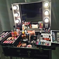 Portable make-up station ♡....What's on your Vanity? Apriori Beauty Skin Care Products and Home Business opportunity, amazing skincare company. The products are wonderful! Message me for sample information call Kathy's Day Spa, (609) 404-7908, http://aprioribeauty.com/IC/KathysDaySpa  www.facebook.com/pages/Professional-Skincare-My-New-Passion