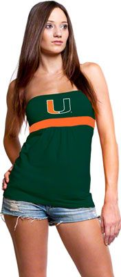 Miami Hurricanes Women's Green Tube Top with Gathers