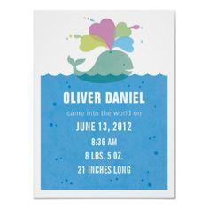 Whale Nursery Art Birth Statistics Poster $19.20 18 x 24