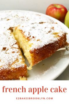 French Apple Cake – bakes brooklynYou can find Apple cake recipes and more on our website. French Apple Cake, Easy Apple Cake, French Cake, Apple Cake Recipes, Easy Cake Recipes, Sweet Recipes, Baking Recipes, Apple Cakes, Apple Pie Cake