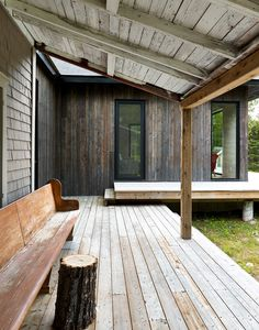 """The Sisters is a small lakeside house, aka """"big sister"""" in La Malbaie, Canada, that recently added a modern addition designed by Anik Péloquin architecte Rustic Chair, Rustic Decor, Rustic Colors, Rustic Theme, Rustic Barn, Rustic Style, Rustic Furniture, Breakfast Bar Lighting, Architecture Résidentielle"""