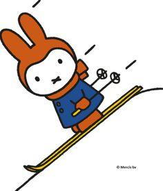Careful Miffy, not too fast! Winter Illustration, Children's Book Illustration, S Ki Photo, Ski Card, Ski Accessories, Ski Posters, Beloved Book, Miffy, Diy Headband