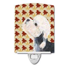 Dandie Dinmont Terrier Fall Leaves Portrait Ceramic Night Light SS4353CNL