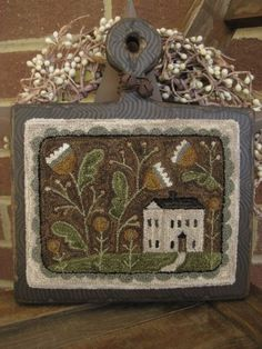 """Folk Embroidery Tutorial Primitive Punch Needle ~""""Whimsy Cottage""""~ Saltbox Folk Art on Wooden Hornbook Rug Hooking Patterns, Rug Patterns, Hook Punch, Folk Embroidery, Embroidery Ideas, Punch Needle Patterns, Wool Quilts, Hand Hooked Rugs, Penny Rugs"""